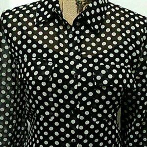 Polka dot sheer long sleeve blouse